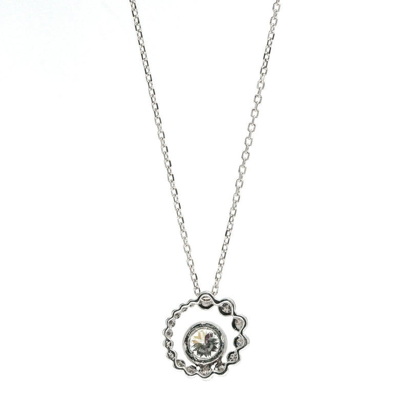"14K White Gold 1.37ctw Diamond Accented Double Circle Slide Pendant on 16"" Chain Pendants with Chains Oaks Jewelry"