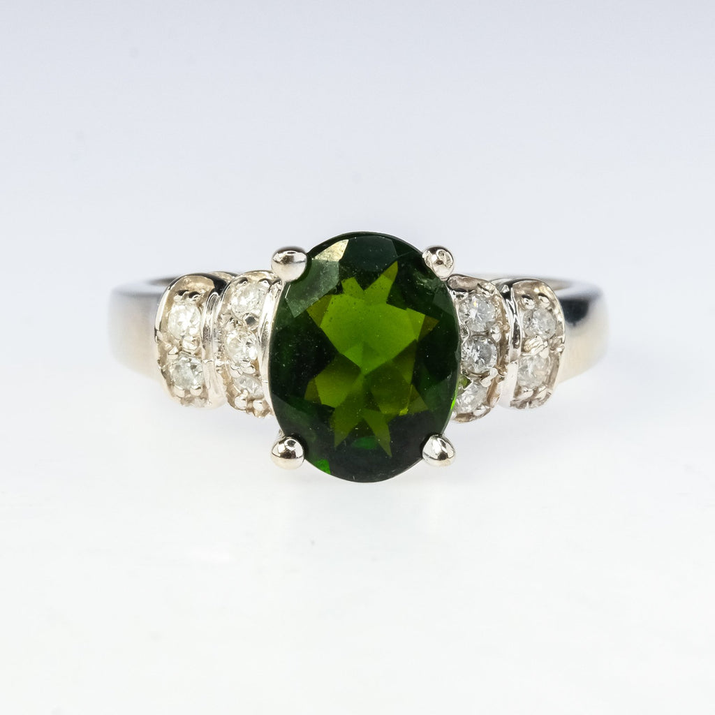 14K White Gold 1.60ct Oval Green Tourmaline with 0.20ctw Diamond Accents Ring Gemstone Rings Oaks Jewelry