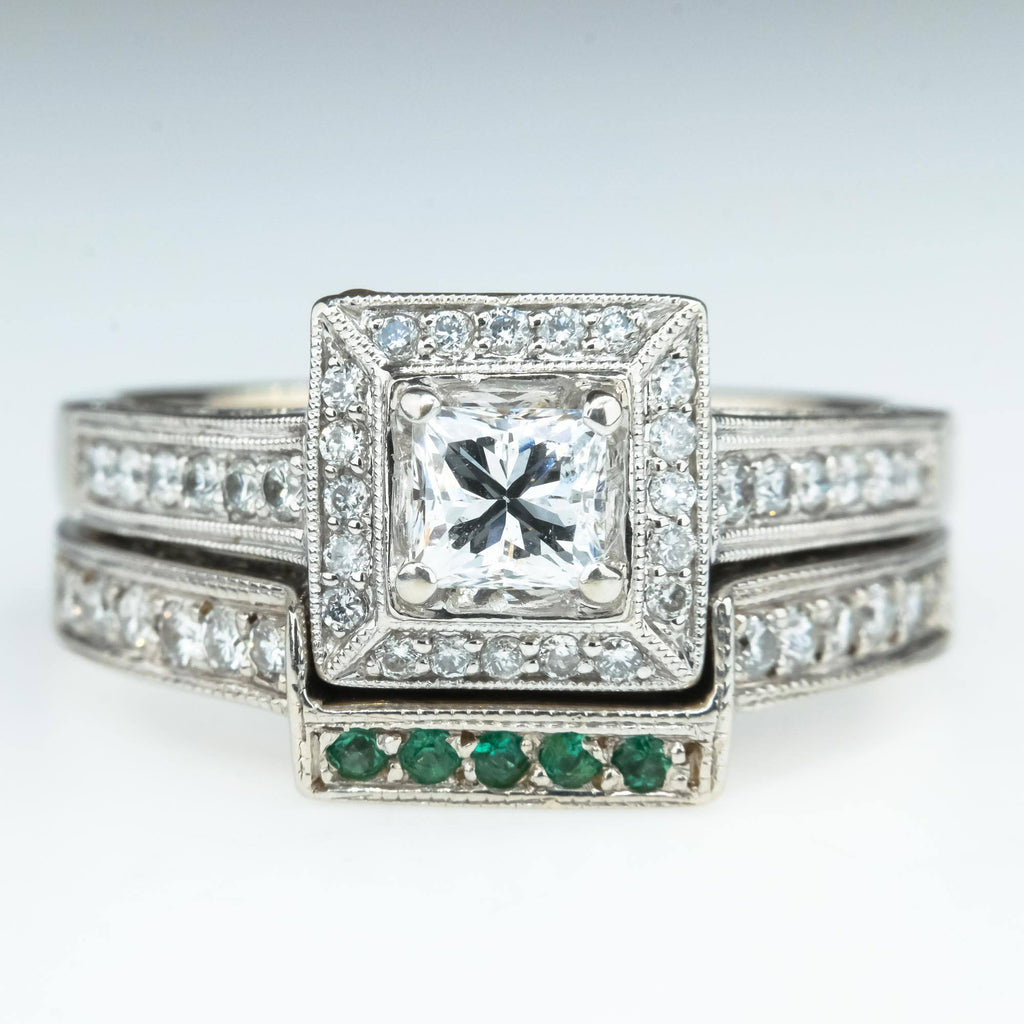 14K White Gold 1.65ctw Princess Diamond Halo & Emerald Accented Bridal Ring Set Bridal Sets Oaks Jewelry