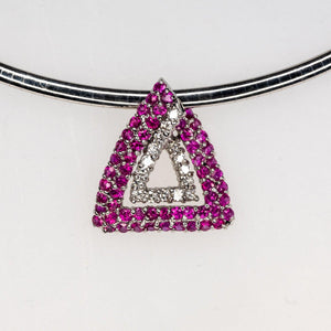 "14K White Gold 1.68ctw Ruby & Diamond Accents Slide Pendant 18"" Omega Necklace Pendants with Chains Oaks Jewelry"
