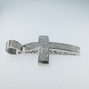 14K White Gold 19.60ctw Princess Diamond Accented Religious Cross Large Pendant Pendants Oaks Jewelry