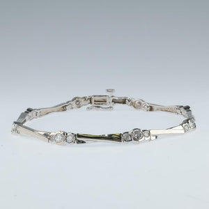 "14K White Gold 2.00ctw Diamond Accented 4.4mm Wide Slanted ""X"" Link 7"" Bracelet Bracelets Oaks Jewelry"