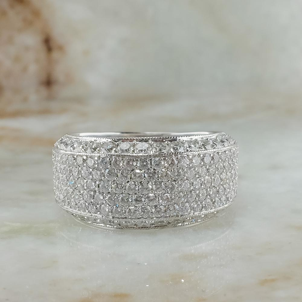14K White Gold 2.10ctw Round Diamond Accented Pave Cluster Statement Ring Size 7 Diamond Rings Oaks Jewelry