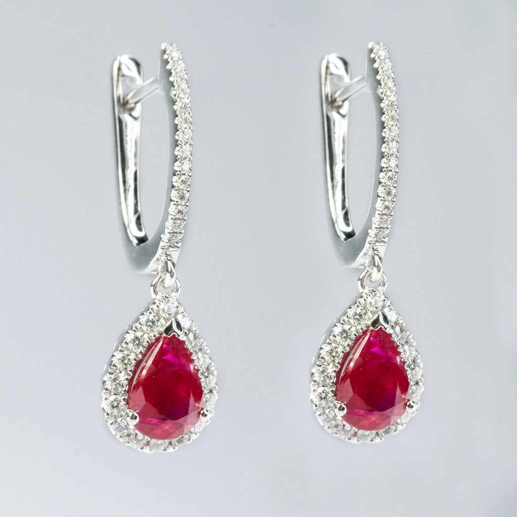 14K White Gold 2.58ctw Natural Ruby & Diamond Accents Dangle Drop Earrings Earrings Oaks Jewelry