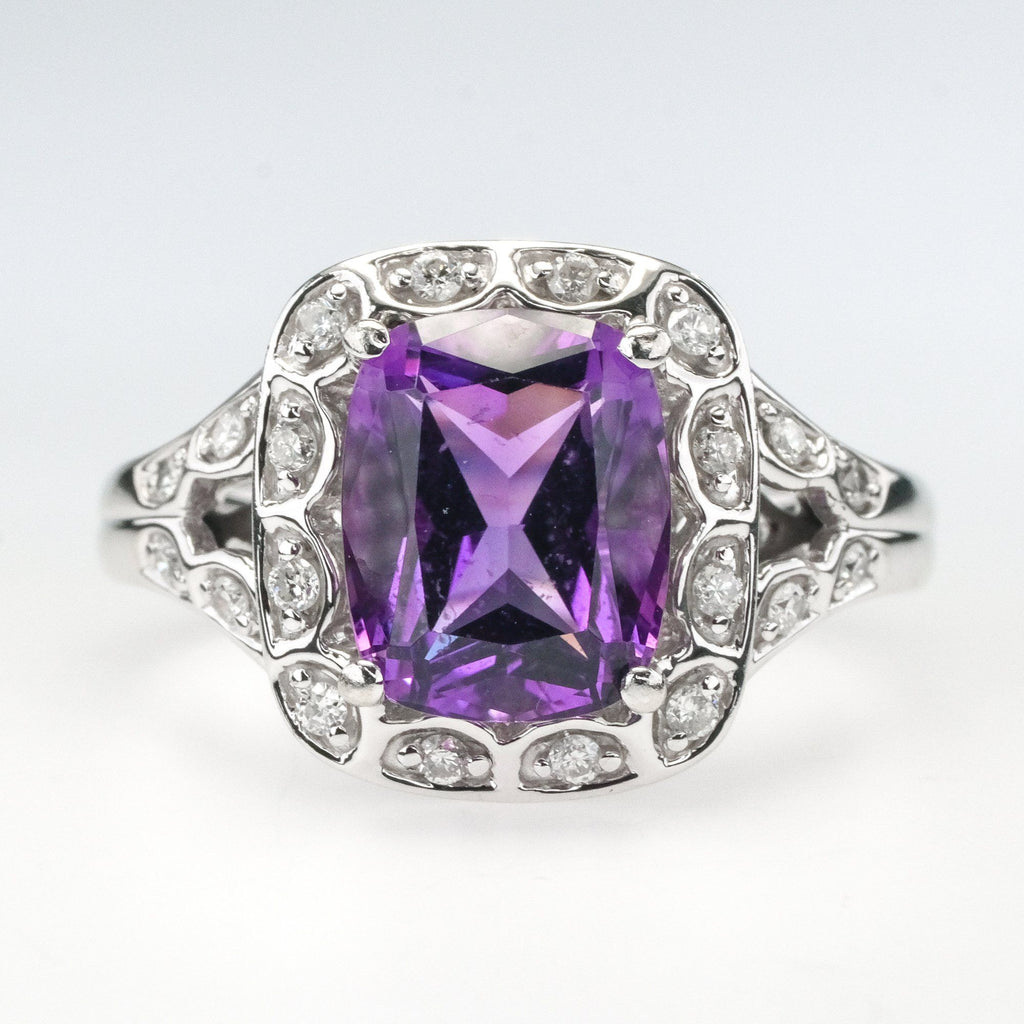 14K White Gold 3.00ct Cushion Cut Amethyst w/ Diamond Accents Gemstone Ring Gemstone Rings Oaks Jewelry
