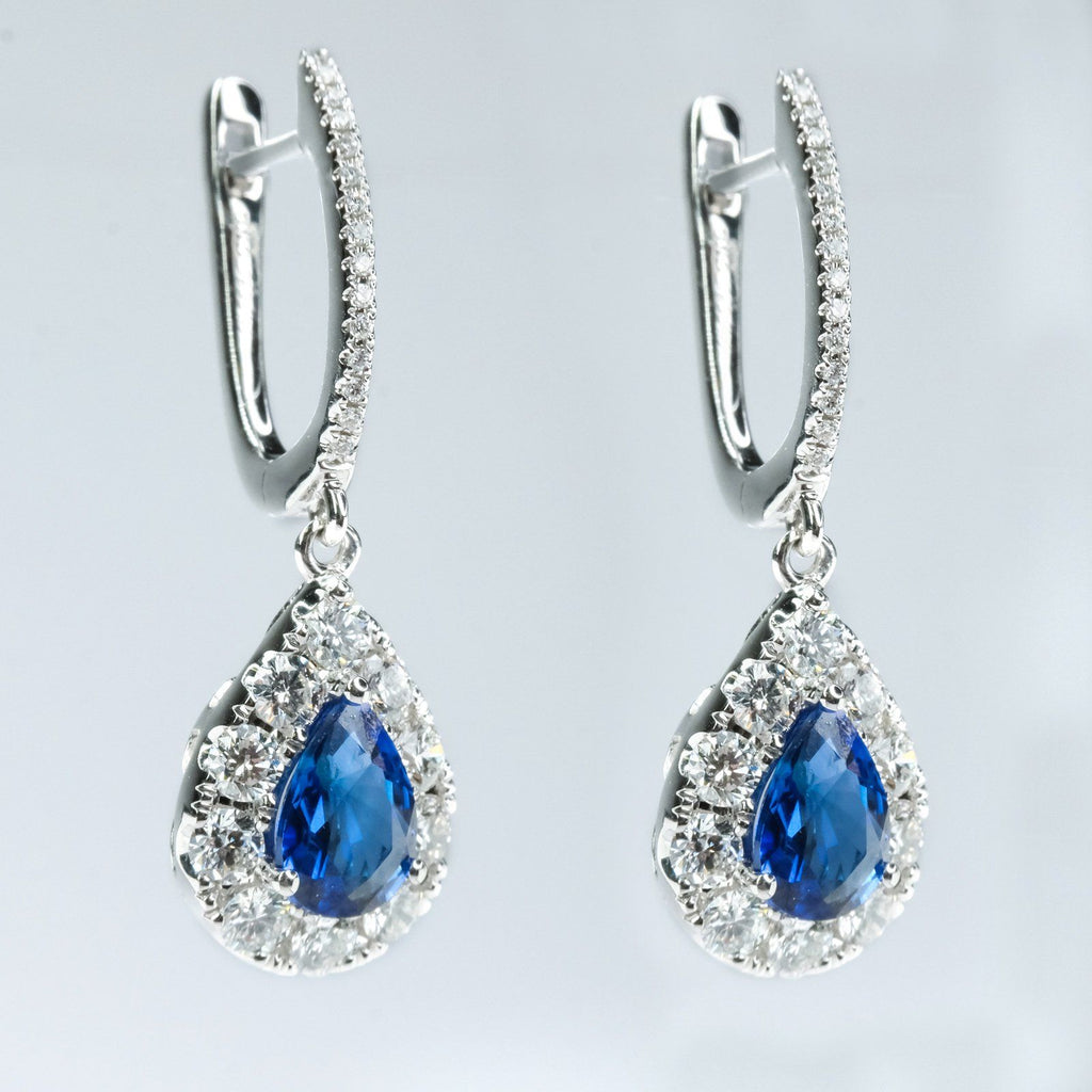 14K White Gold 3.00ctw Blue Sapphire & Diamond Accents Dangle Drop Earrings Earrings Oaks Jewelry