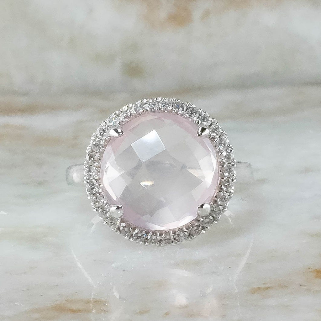 14K White Gold 4.45ct Round Checkerboard Rose Quartz & Diamond Accents Halo Ring Gemstone Rings Oaks Jewelry