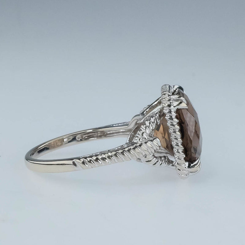 14K White Gold 5.00ct Cushion Smoky Quartz & Rope Shank Solitaire Ring Size 5.75 Gemstone Rings Oaks Jewelry