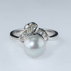14K White Gold 8.5mm Wide Gray Pearl & Diamond Accented Gemstone Ring Size 6.5 Gemstone Rings Oaks Jewelry