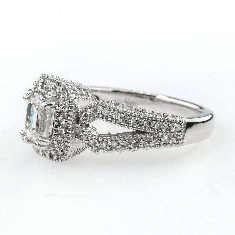 14K White Gold Emerald Cut Diamond Halo Split Shank Engagement Ring Size 6.25 Engagement Rings Oaks Jewelry