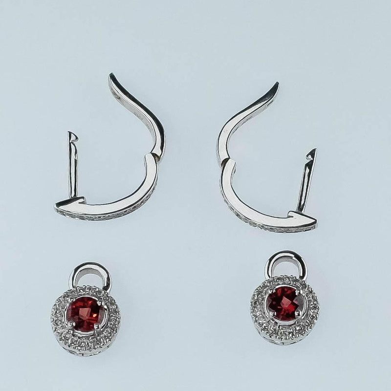 14K White Gold Garnet & Diamond Accented Huggie Hoop Removable Dangle Earrings Earrings Oaks Jewelry