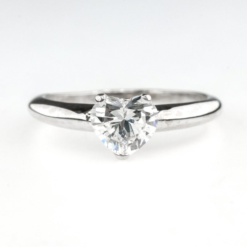 14K White Gold GIA 0.63ct Heart Shape Diamond VS1/F Solitaire Engagement Ring Engagement Rings Oaks Jewelry