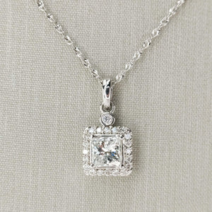 "14K White Gold GIA 0.73ct Square Diamond I1/G & Halo Pendant w/18"" Cable Chain Pendants with Chains Oaks Jewelry"