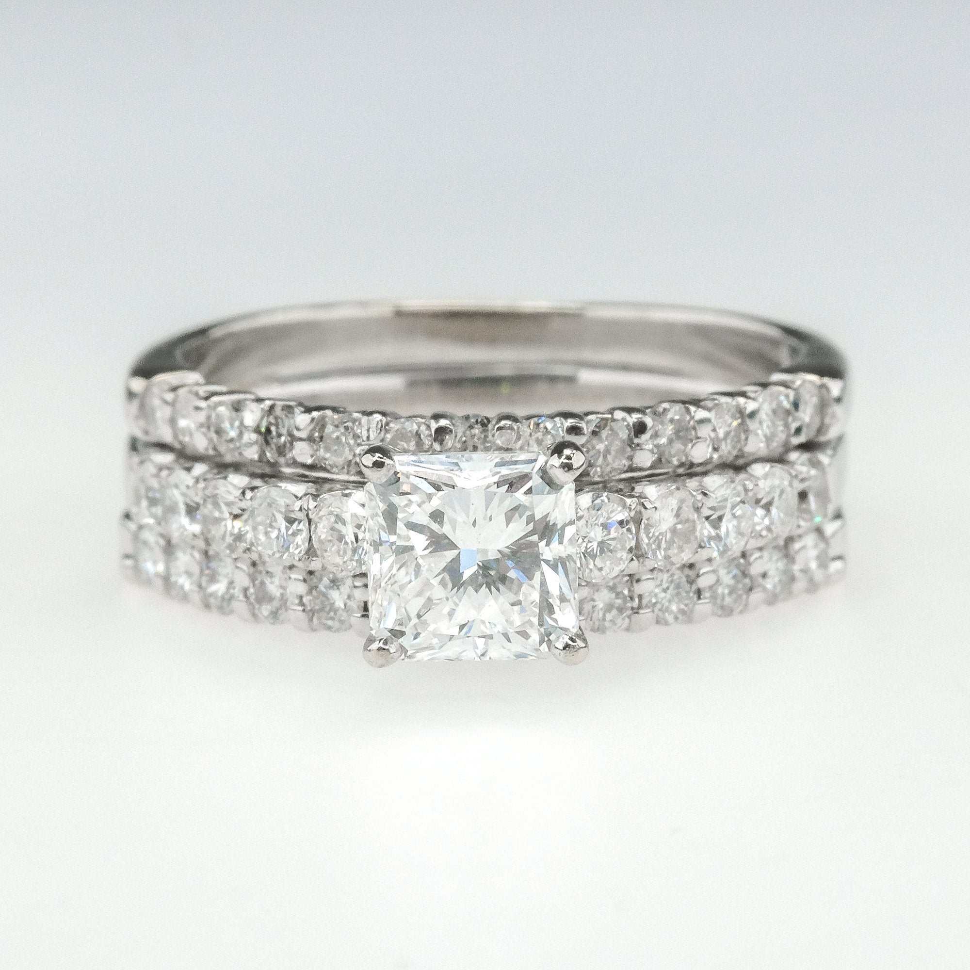 6.5mm Solitaire Engagement Ring 1.03 CTW CZ Stainless Steel Wave Ribbon Setting