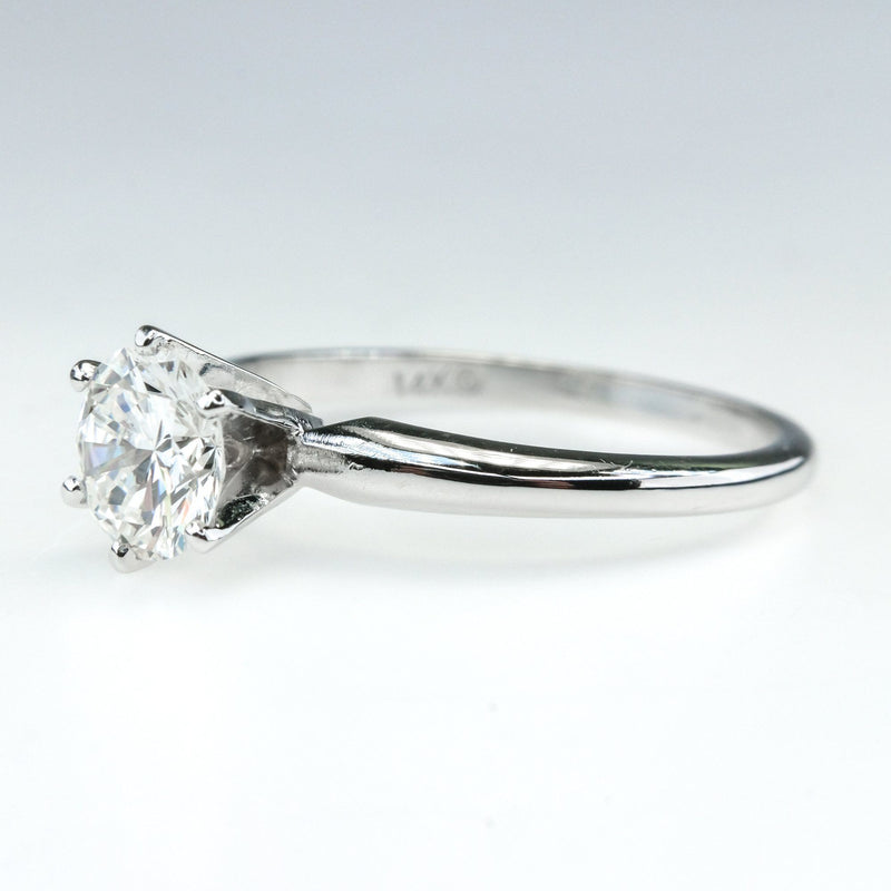 14K White Gold GIA 0.91ct Round Diamond VVS1/G Solitaire Engagement Ring Size 7 Engagement Rings Oaks Jewelry