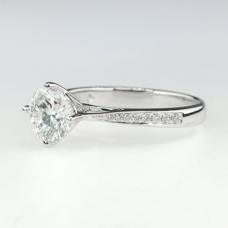 14K White Gold GIA 1.01ct Diamond SI2/G Solitaire & Side Accents Engagement Ring Engagement Rings Oaks Jewelry