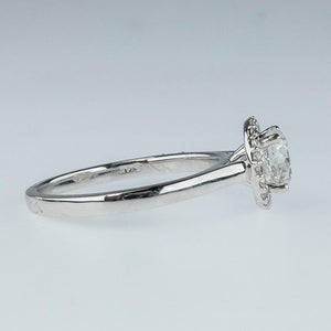 14K White Gold GIA 1.01ct Round Diamond SI2/H Halo Engagement Ring Size 6.75 Engagement Rings OaksJewelry