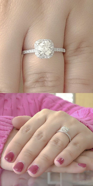 14K White Gold GIA 1.13ct Diamond VS2/L & Diamond Accented Engagement Ring Engagement Rings Oaks Jewelry