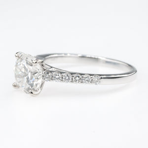 14K White Gold GIA 1.66ct Round Diamond SI2/H & Side Accented Engagement Ring Engagement Rings Oaks Jewelry