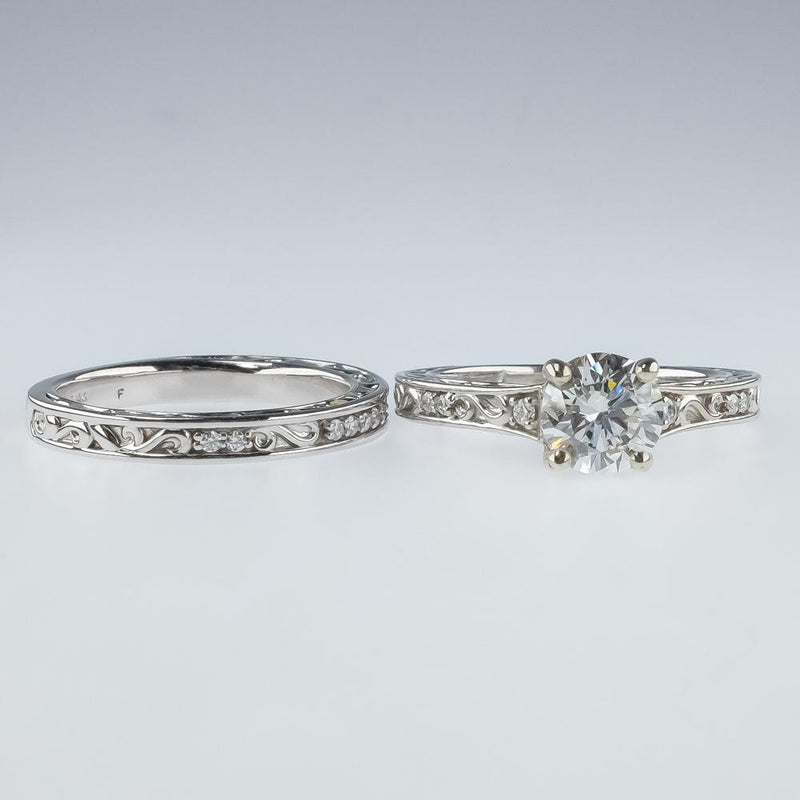 14K White Gold GIA Round Diamond & Filigree Accents Bridal Set Ring Size 7 Bridal Sets Oaks Jewelry