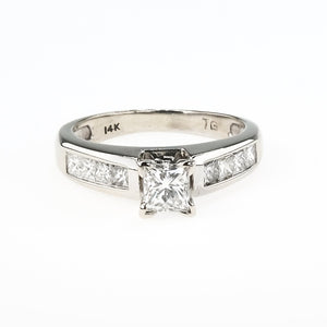 14K White Gold IGI 0.52ct Princess Diamond VS2/I & Side Accents Engagement Ring Engagement Rings Oaks Jewelry