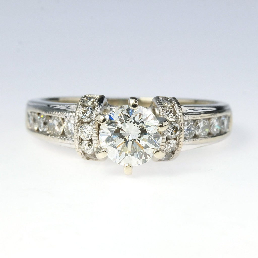 14K White Gold IGI 0.71ct Round Diamond & Side Accents Engagement Ring Size 6.75 Engagement Rings Oaks Jewelry