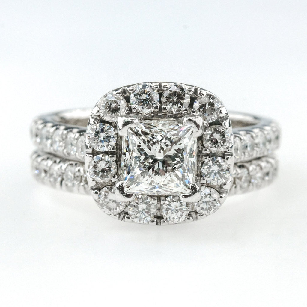 14K White Gold LEO 1.01ct Princess Diamond Neil Lane Halo & Accented Bridal Set Bridal Sets Oaks Jewelry