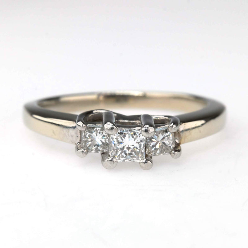 14K White Gold & Platinum 0.50ctw Three Stone Diamond Engagement Ring Size 7 Engagement Rings Oaks Jewelry