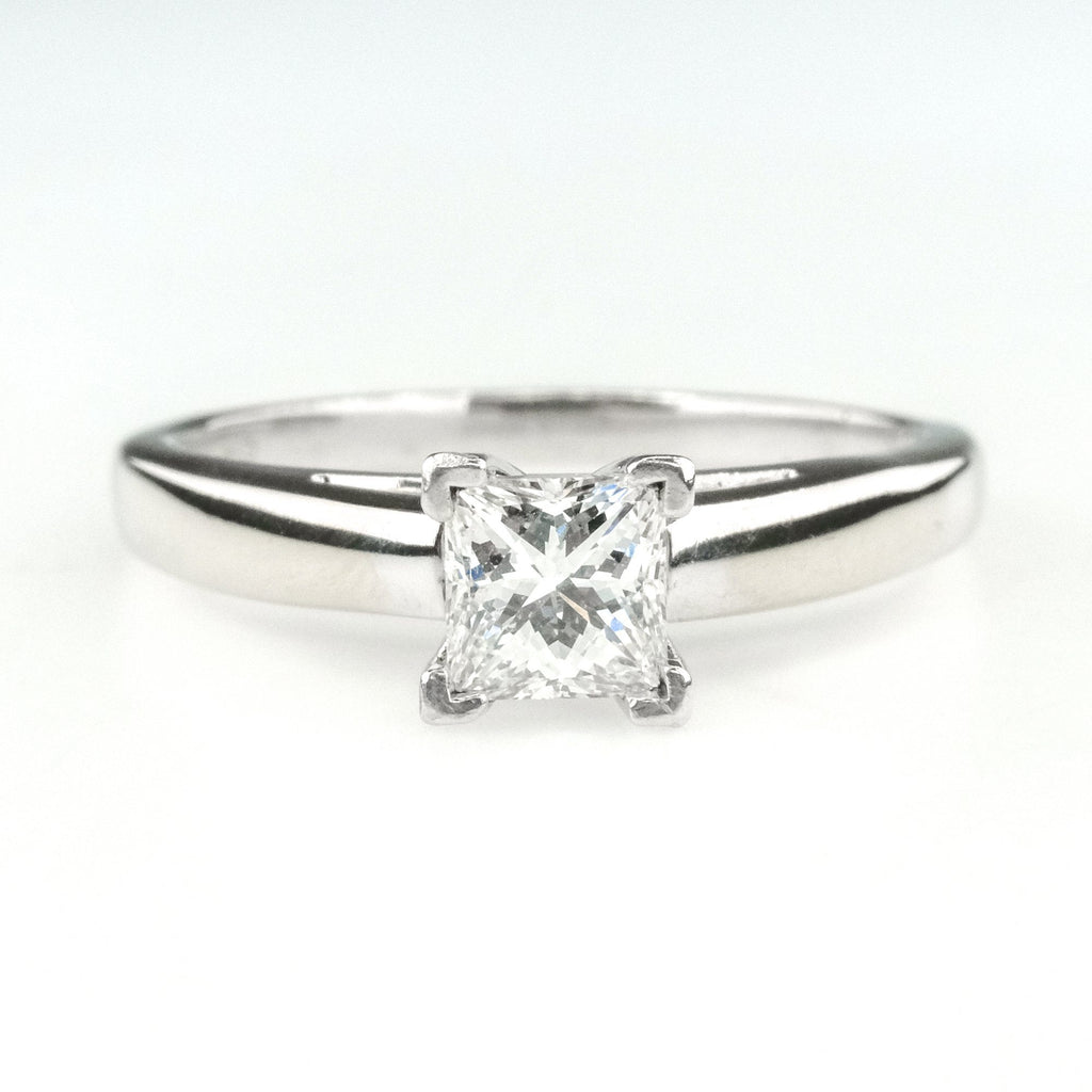 14K White Gold & Platinum 0.64ct Princess Leo Diamond Solitaire Engagement Ring Clearance Engagement Rings OaksJewelry