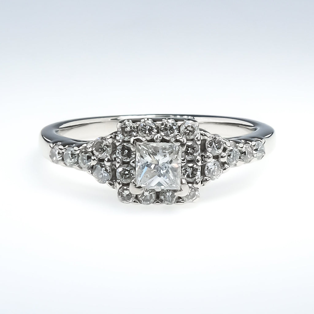 14K White Gold SI2/H 0.40ct Princess Diamond w/ Diamond Accents Engagement Ring Engagement Rings Oaks Jewelry