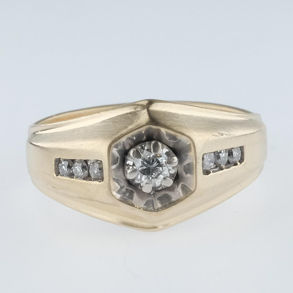 14K Yellow Gold 0.32ctw Round Diamond Accented Illusion & Channel Set Satin Ring Diamond Rings Oaks Jewelry