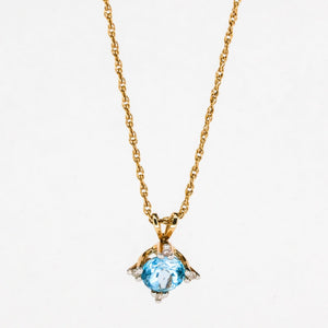 "14K Yellow Gold 0.50ct Blue Topaz & Diamond Accents Pendant on 18"" Rope Chain Pendants with Chains Oaks Jewelry"