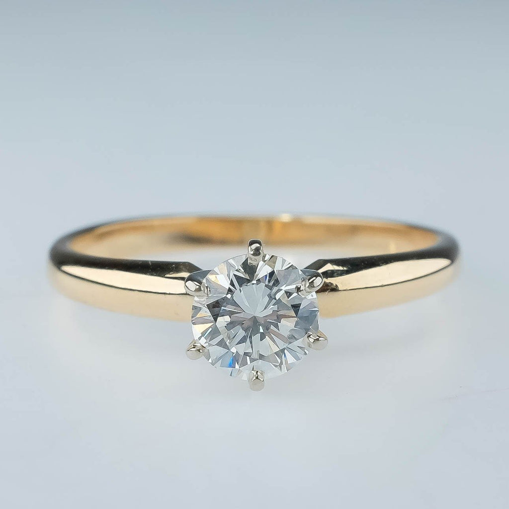 14K Yellow Gold 0.50ct Round SI1/I Diamond Solitaire Engagement Ring - Size 7.5 Engagement Rings Oaks Jewelry