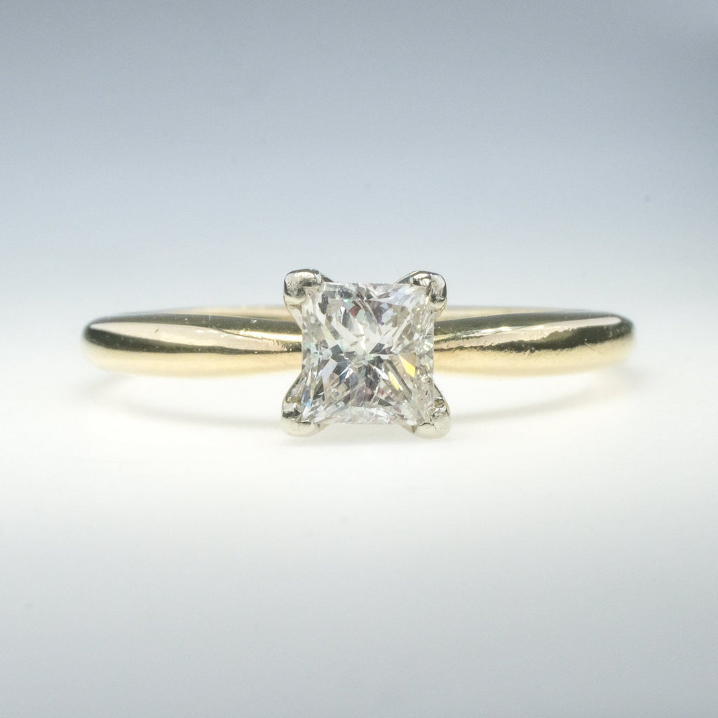 14K Yellow Gold 0.75ct Princess Fracture Fill Diamond Solitaire Engagement Ring Engagement Rings Oaks Jewelry