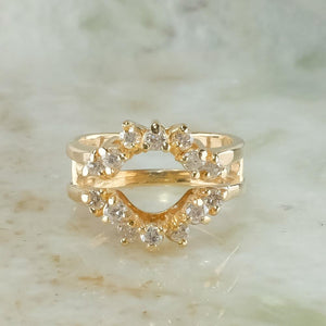 14K Yellow Gold 0.75ctw Diamond Accents Jacket Guard Ring Size 6.25 Wedding Rings Oaks Jewelry