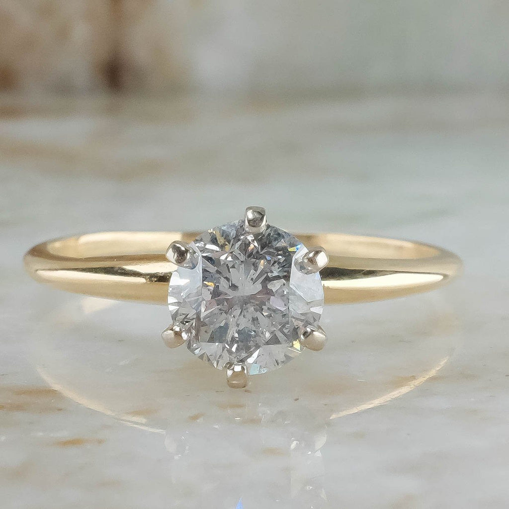 14K Yellow Gold 0.90ct Round Diamond I1/H Solitaire Engagement Ring Size 8.5 Engagement Rings Oaks Jewelry