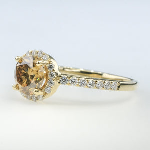 14K Yellow Gold 0.97ct GIA Moissanite w/Diamond Halo & Accents Engagement Ring Engagement Rings Oaks Jewelry