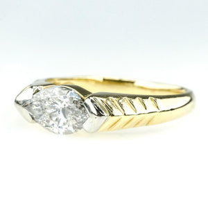 14K Yellow Gold 1.00ct I1/H Marquise Diamond East West Solitaire Engagement Ring Engagement Rings Oaks Jewelry