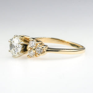 14K Yellow Gold 1.02ct GIA Round Diamond with Side Accents Engagement Ring Engagement Rings Oaks Jewelry