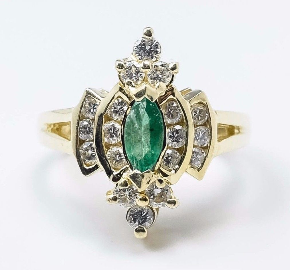14K Yellow Gold 1.05ctw Marquise Green Emerald & Diamond Accented Gemstone Ring Gemstone Rings OaksJewelry