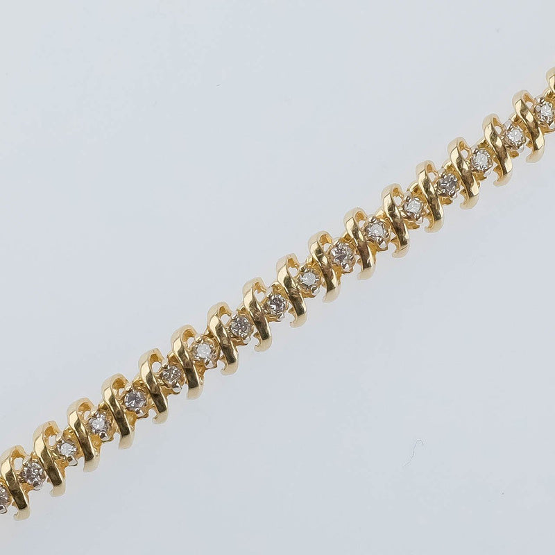 "14K Yellow Gold 1.10ctw Round Diamond Accented ""S"" Link 7.25"" Tennis Bracelet Bracelets Oaks Jewelry"