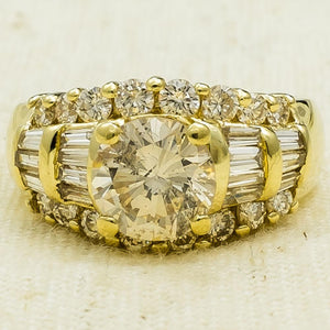 14K Yellow Gold 1.20ct Round Diamond I1/J & Accented Engagement Ring Size 5 Engagement Rings Oaks Jewelry