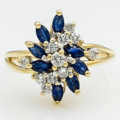 14K Yellow Gold 1.40ctw Sapphire & Diamond Cluster Cocktail Ring Size 9.25 Gemstone Rings Oaks Jewelry
