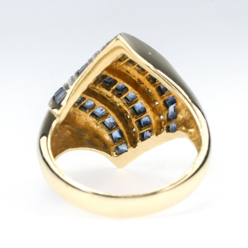 14K Yellow Gold 1.50ctw Sapphire and Diamond Accents Free-Form Gemstone Ring Gemstone Rings Oaks Jewelry
