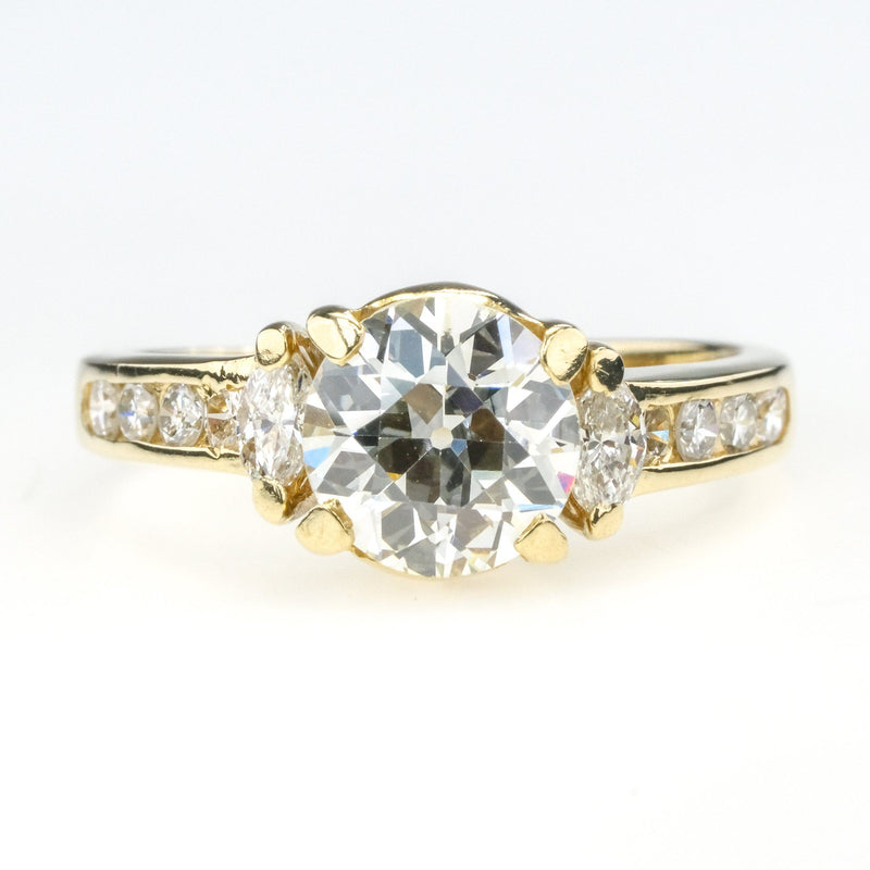 14K Yellow Gold 1.60ct Round Diamond SI1/G & Side Accents Engagement Ring Size 6 Engagement Rings Oaks Jewelry