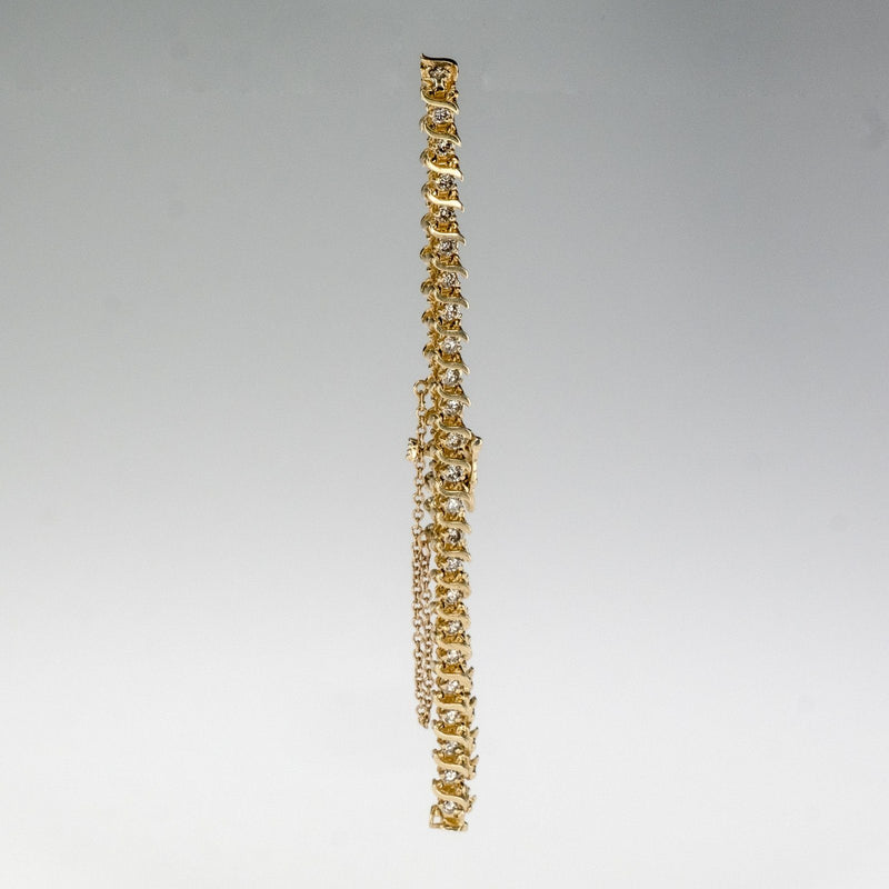 "14K Yellow Gold 2.50ctw Diamond Accented S Link 7.5"" Tennis Bracelet Bracelets Oaks Jewelry"