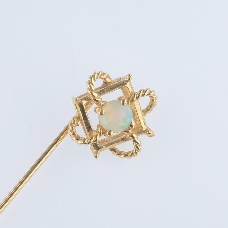 14K Yellow Gold 4mm White Opal Geometric Filigree Open Work Brooch Pin Pins and Brooches Oaks Jewelry