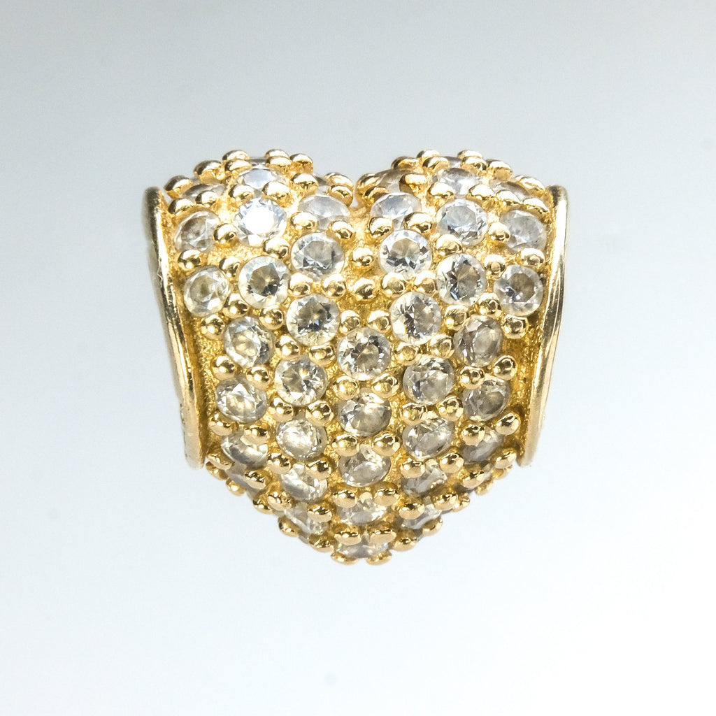 14K Yellow Gold Authentic PANDORA Cubic Zirconia Pave Heart Bead Charm 750828CZ Charms and Charm Bracelets PANDORA