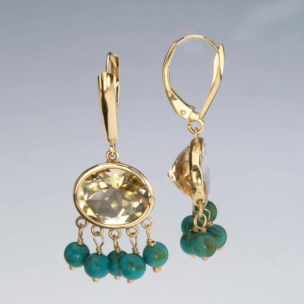 14K Yellow Gold Bezel Set Citrine & Turquoise Dangle Accents Lever Back Earrings Earrings Oaks Jewelry
