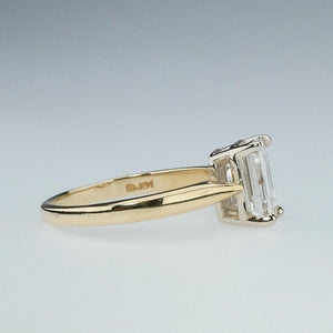 14K Yellow Gold GIA 1.50ct Emerald Cut SI1/G Solitaire Engagement Ring Size 5.5 Engagement Rings OaksJewelry